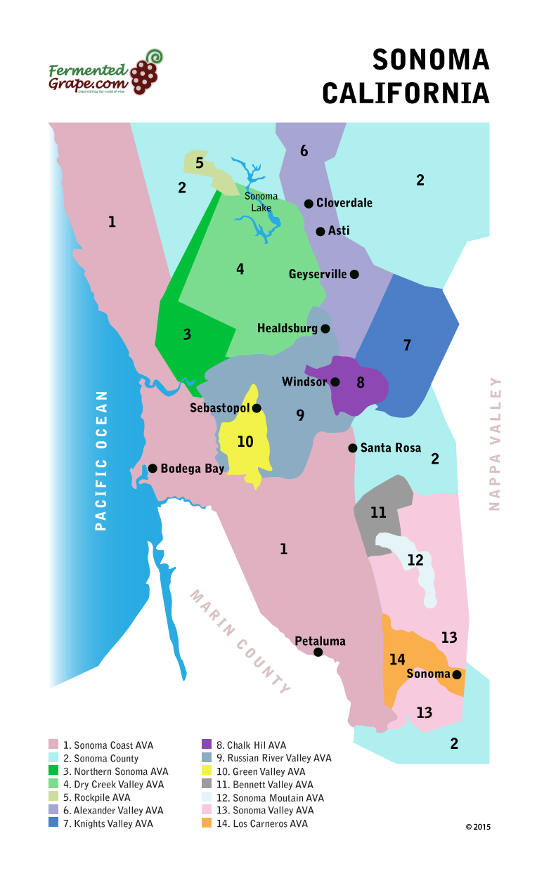 Sonoma County California wine map by Fermentedgrape.com