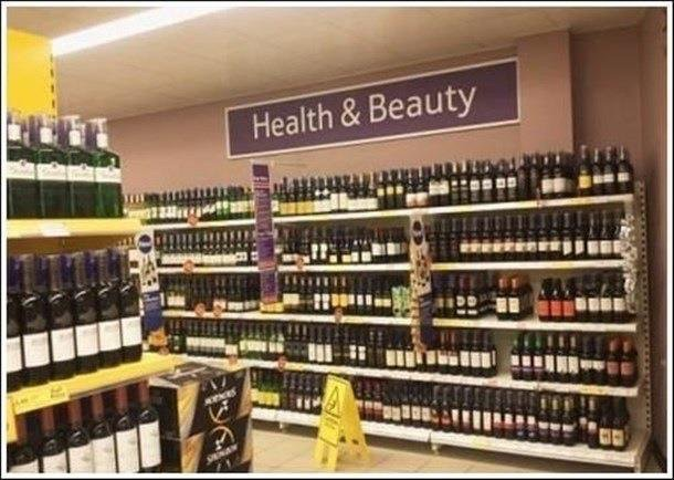health and beauty wine aisle