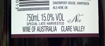15% alcohol australian wine label