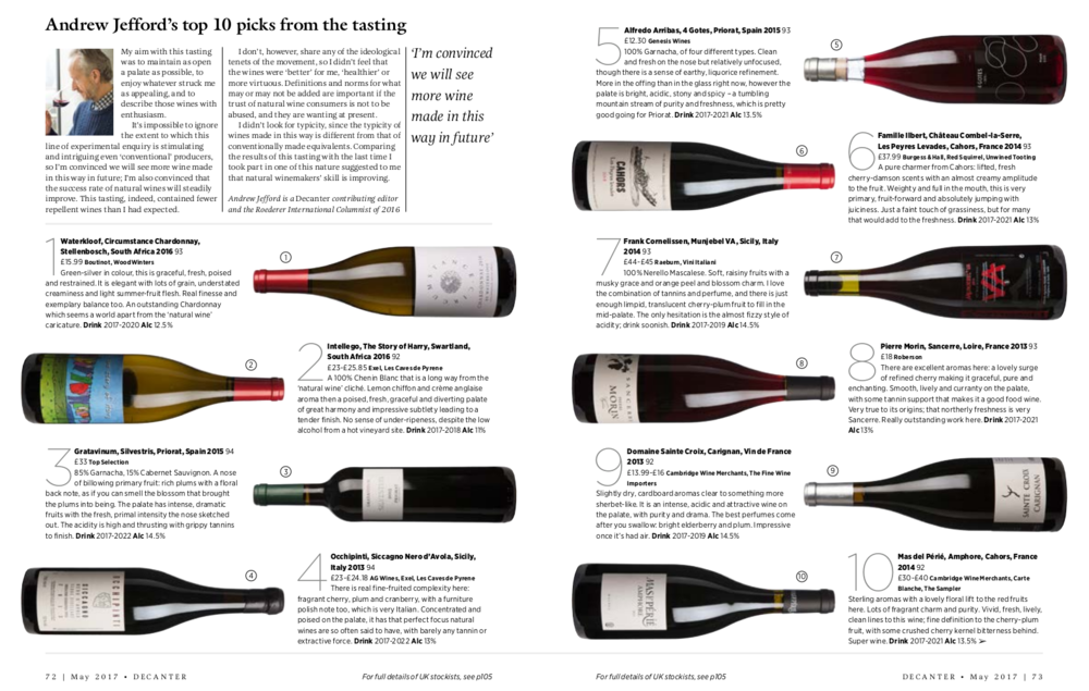 Andrew Jefford top 10 natural wines Decanter