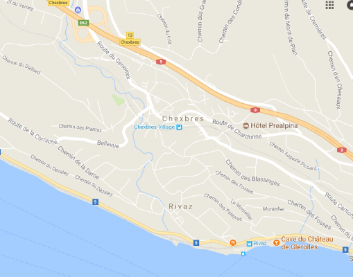 Google maps Chexbres near Vevey