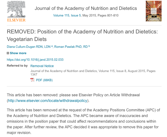 Removal notice: Position of the Academy of Nutrition and Dietetics: Vegetarian diets