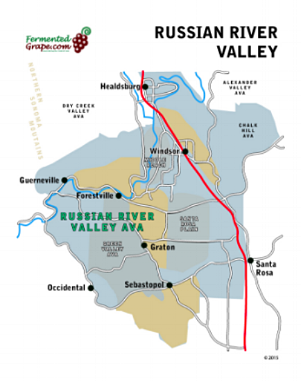 Russian River Valley wine map by fermentedgrape.com