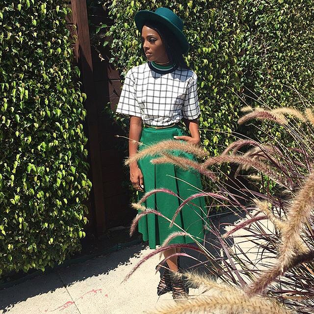 Dawn Richard wearing a look by one of our brands! Skirt and top by Outstanding Ordinary.