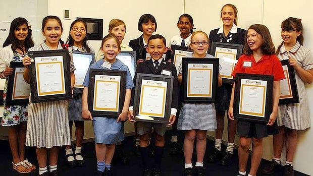 Prize-winning pen pals … the Sydney Morning Herald Youngest Writers gold award winners.  Photo: Peter Rae