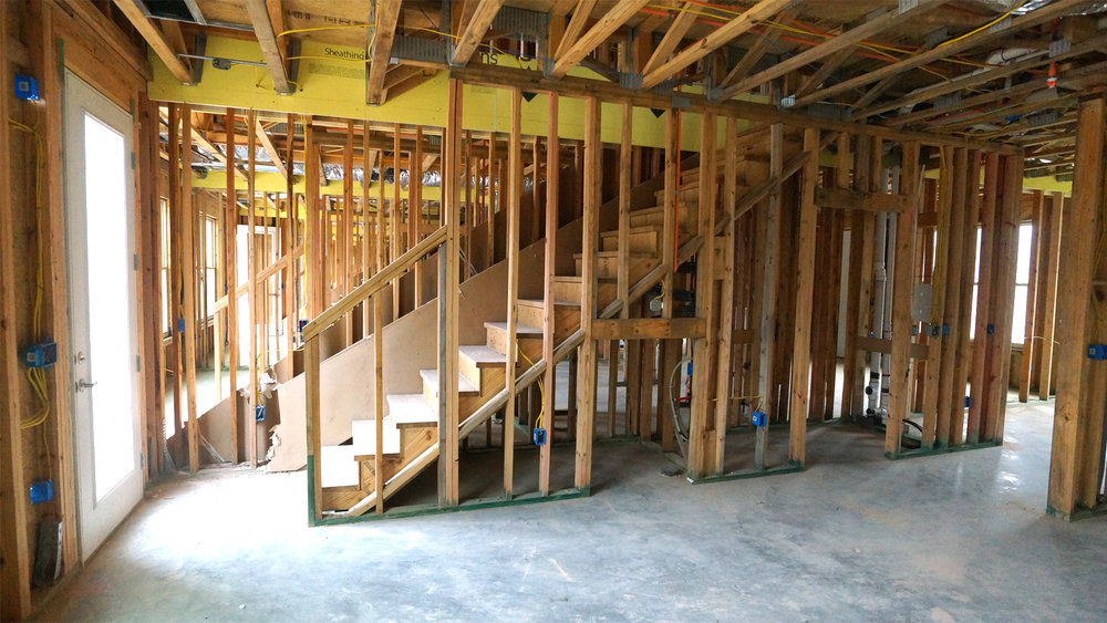 Interior framing in a Phase 2 unit
