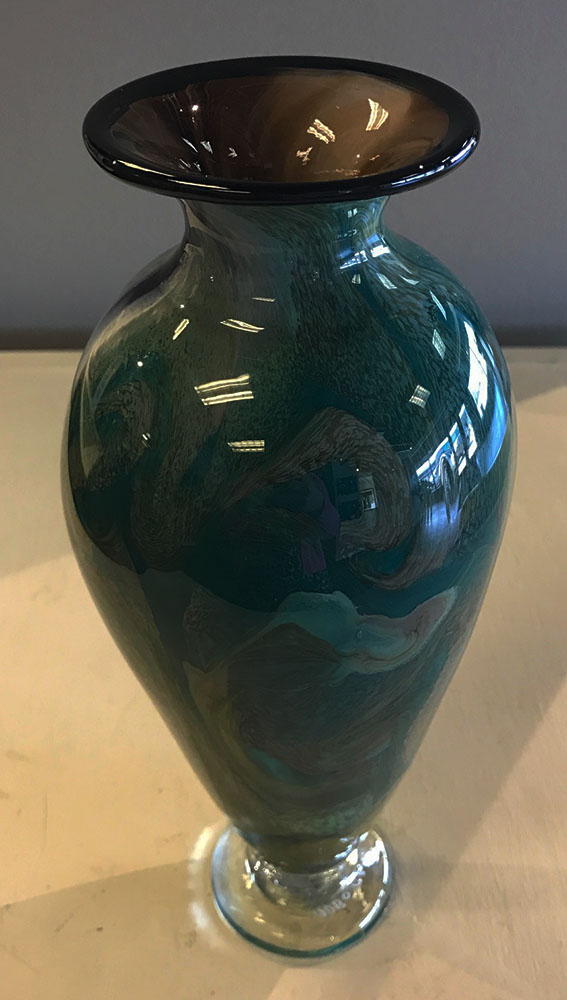Vase Amphora Green Agate Footed (17-24405)