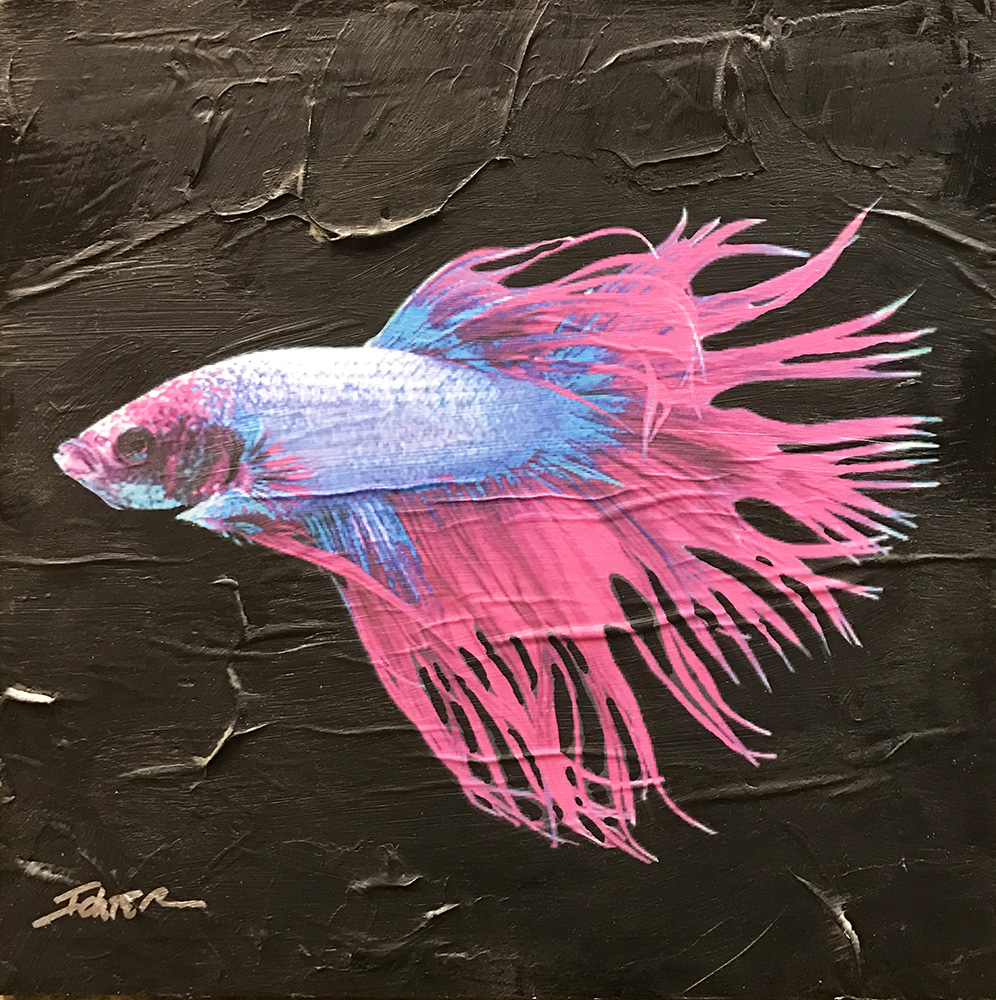 17-24573 Ichter Blue and Pink Fish 10x10 mixed media.JPG