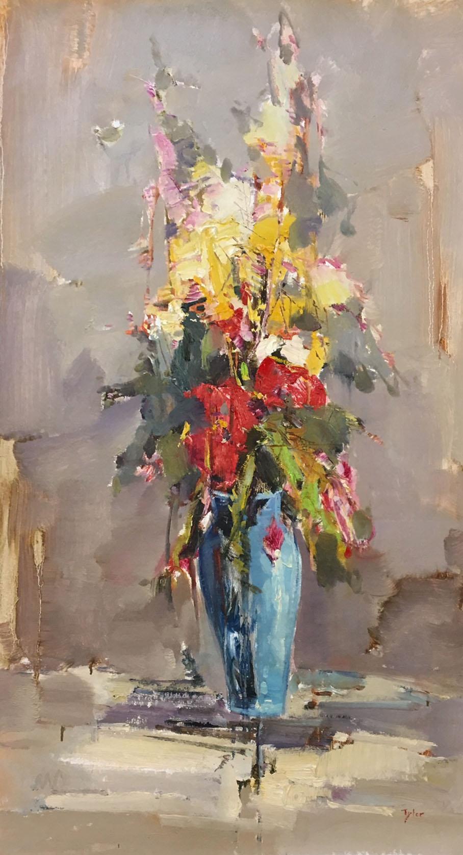 18-24756 Flowers in Blue Vase