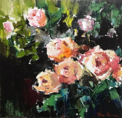 """Julia Klimova,  Night Garden , 30x30"""", oil on canvas"""