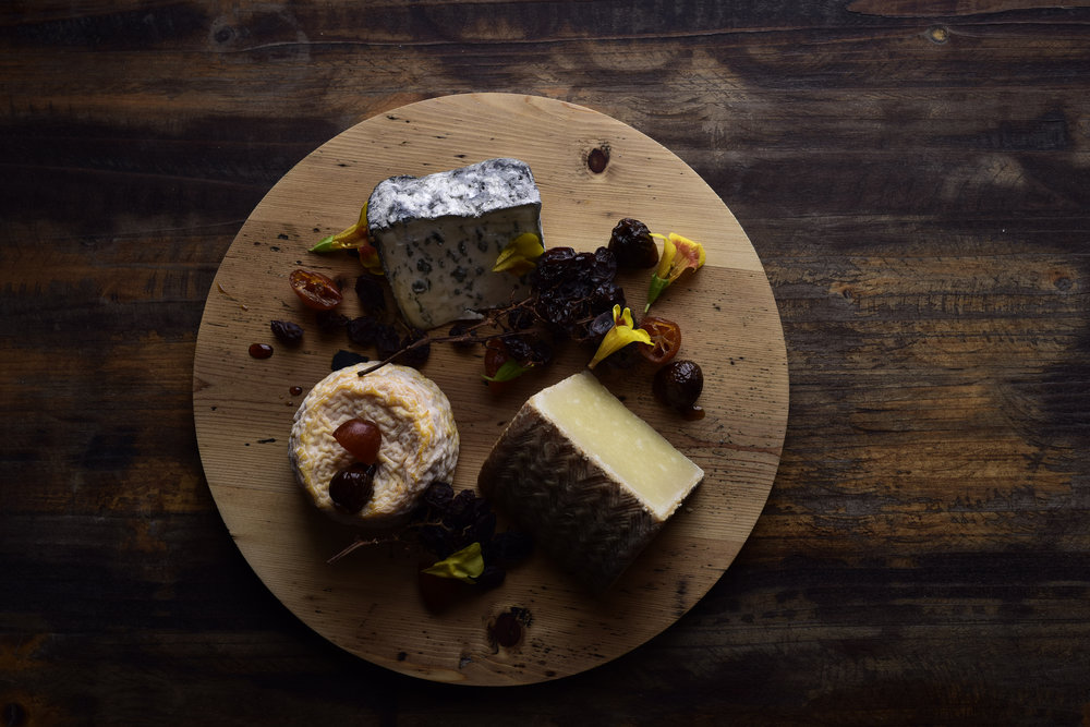 FROMAGE - Cheese from Harper and Blohm, ask us for the weekly selection from Olivia SuttonServed with crackers, wild fig in red port reduction, Australian muscatels and roasted hazelnuts