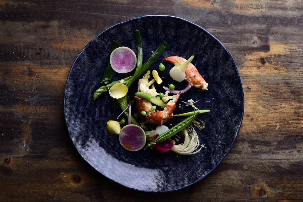 LA MER - Hapuka, turnip, mini radish and sea parsley, romesco, ice plant and urchin creamorMonkfish and dashi, leek and miso cream, shaved squid, shaved beetroot chioggia and watermelon radish