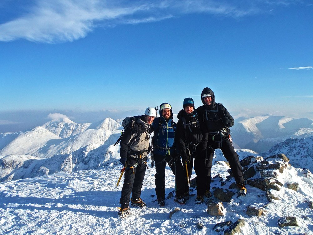 Stob Coire Nan Lochan, 1115m. After climbing up via Dorsal Arete. Smiles all around on what was a beautiful day