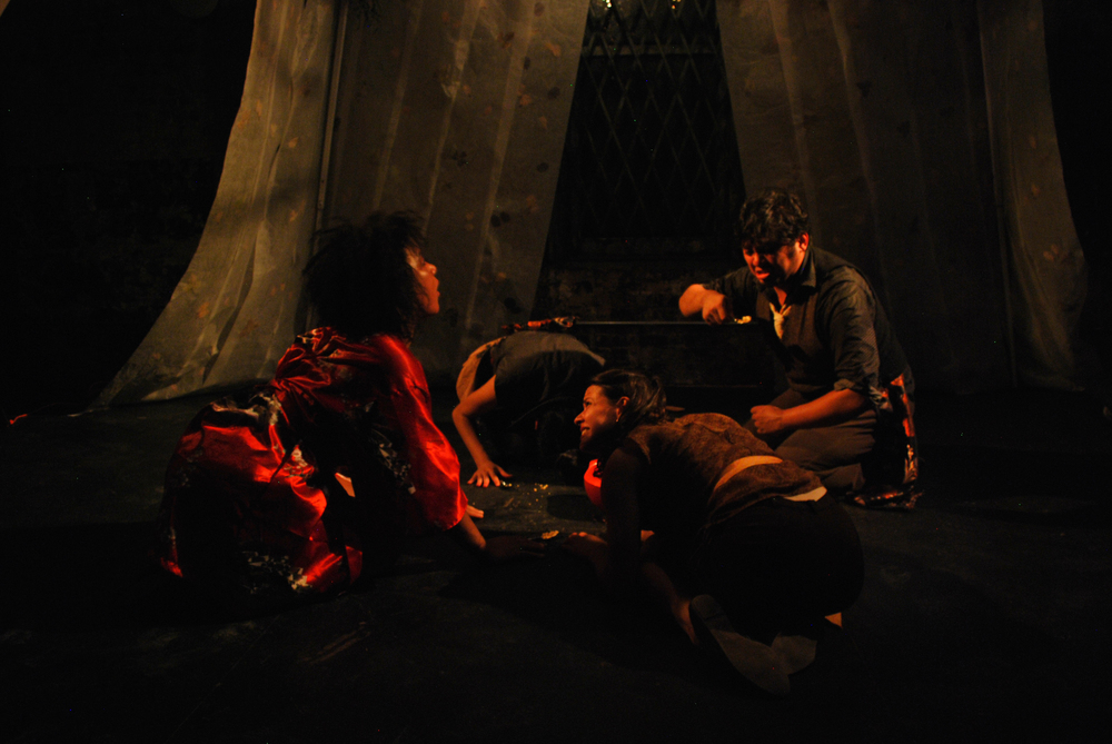 Karen Eilbacher, Tess Avitabile, Sean Devare, and Rachel M. Lin in We Are Samurai (Marrow's Edge, 2013)
