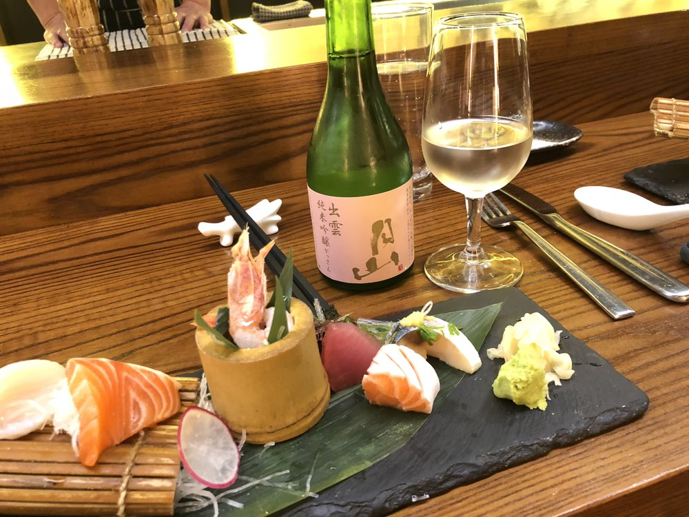 Otsumami with a glass of Gassan junmai ginjo sake to complement it perfectly.