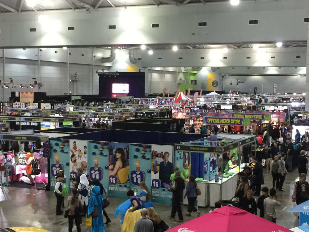 The media room has a pretty good view of the show floor.