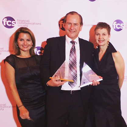 Ross Ellis of SEI and Melissa Scauri and Claire Taylor of Carpenter Group accept two awards at the FCS Portfolio Awards Gala in NYC.