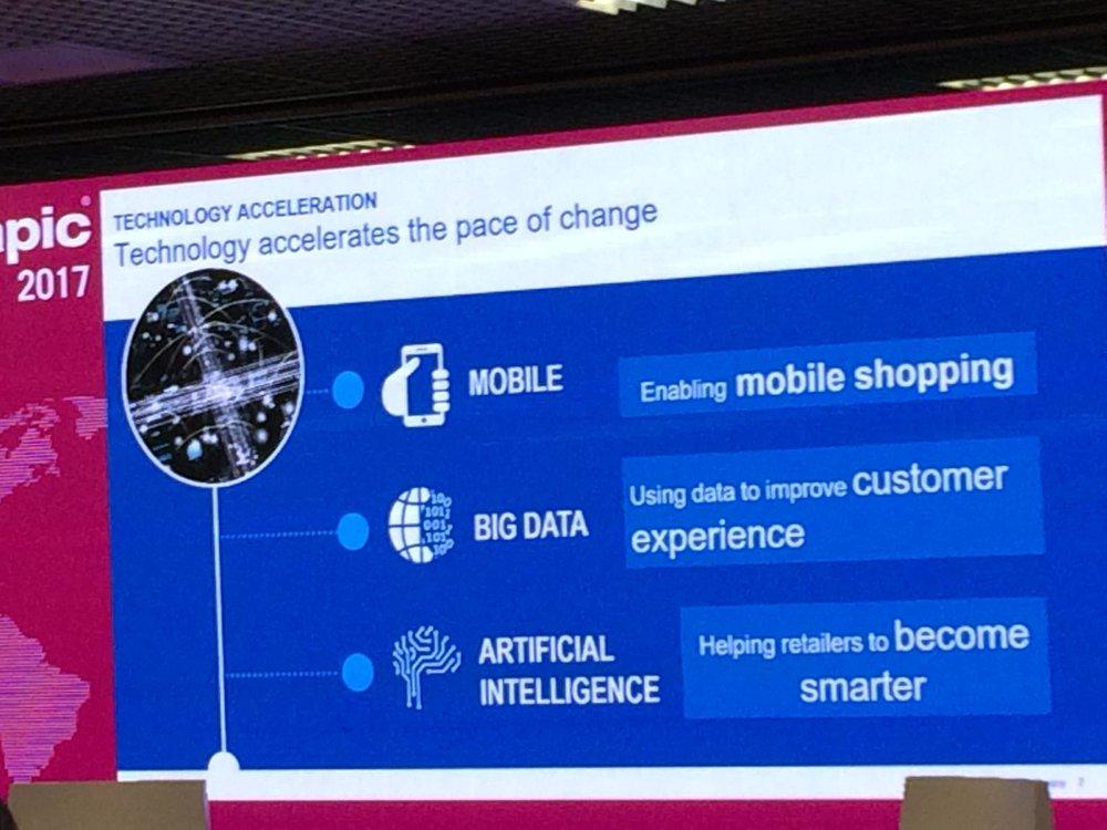 c)  Ускорение развития технологий:  мобильные телефоны открывают новые возможности длясбораи использовании больших данных, персонализированного шопинга и автоматизации процессов. Люди видят необходимые им товары и покупают их, находясь где угодно. Технологии работы с данными позволили интернет-ритейлерам вырваться вперёд.