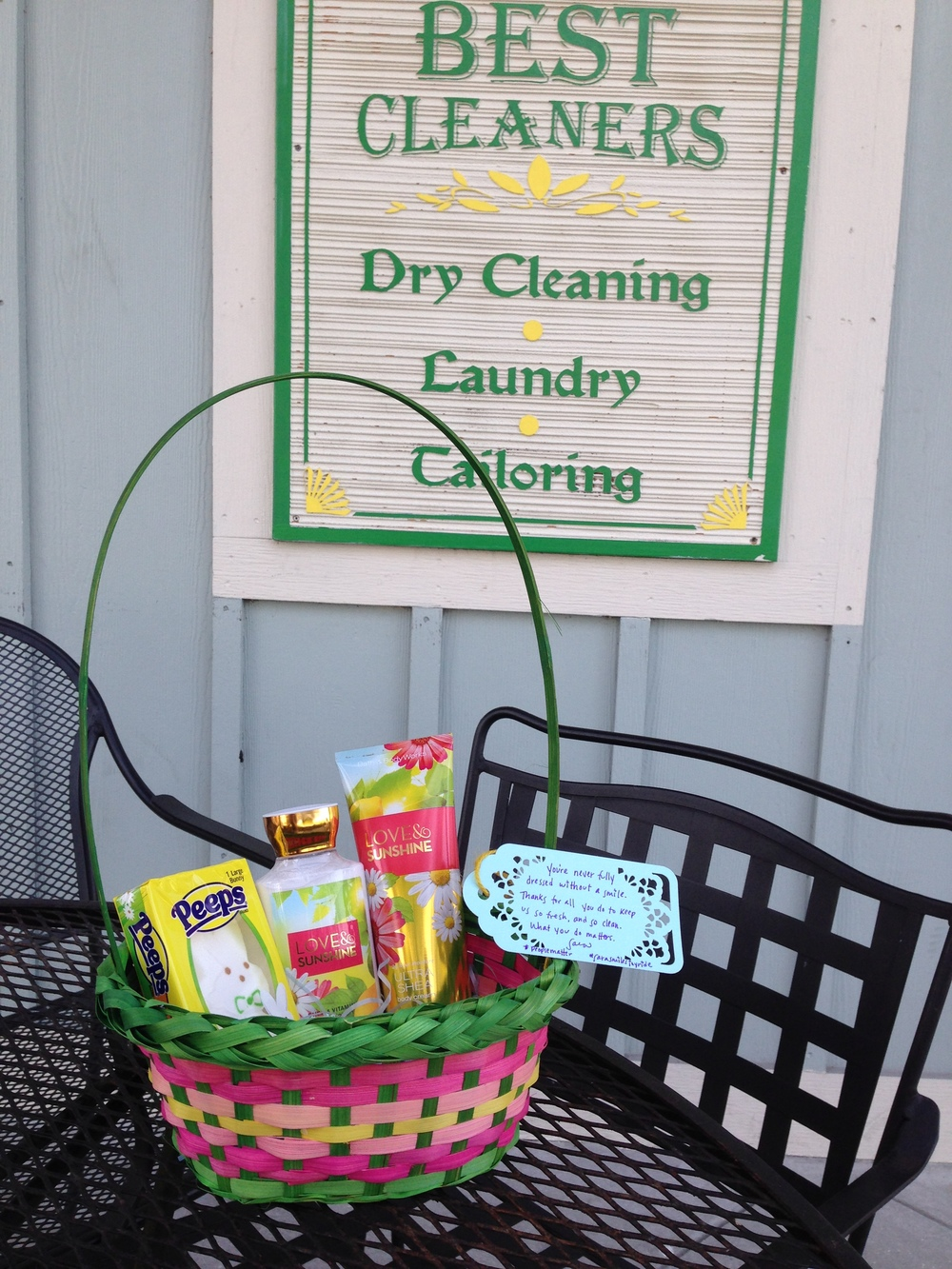 An Easter basket for the dry cleaner