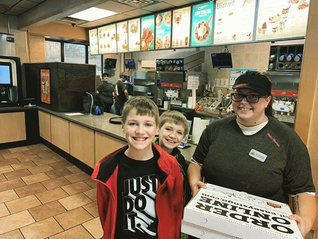The #JoyFriday stories are pouring in! The Zanolla's brought pizza to the @dairyqueen Grill and Chill crew in Carthage, IL 🍕🍦