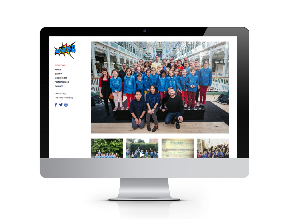 Bright, colourful site for children's choir The SuperTones with social media links, galleries and CTA