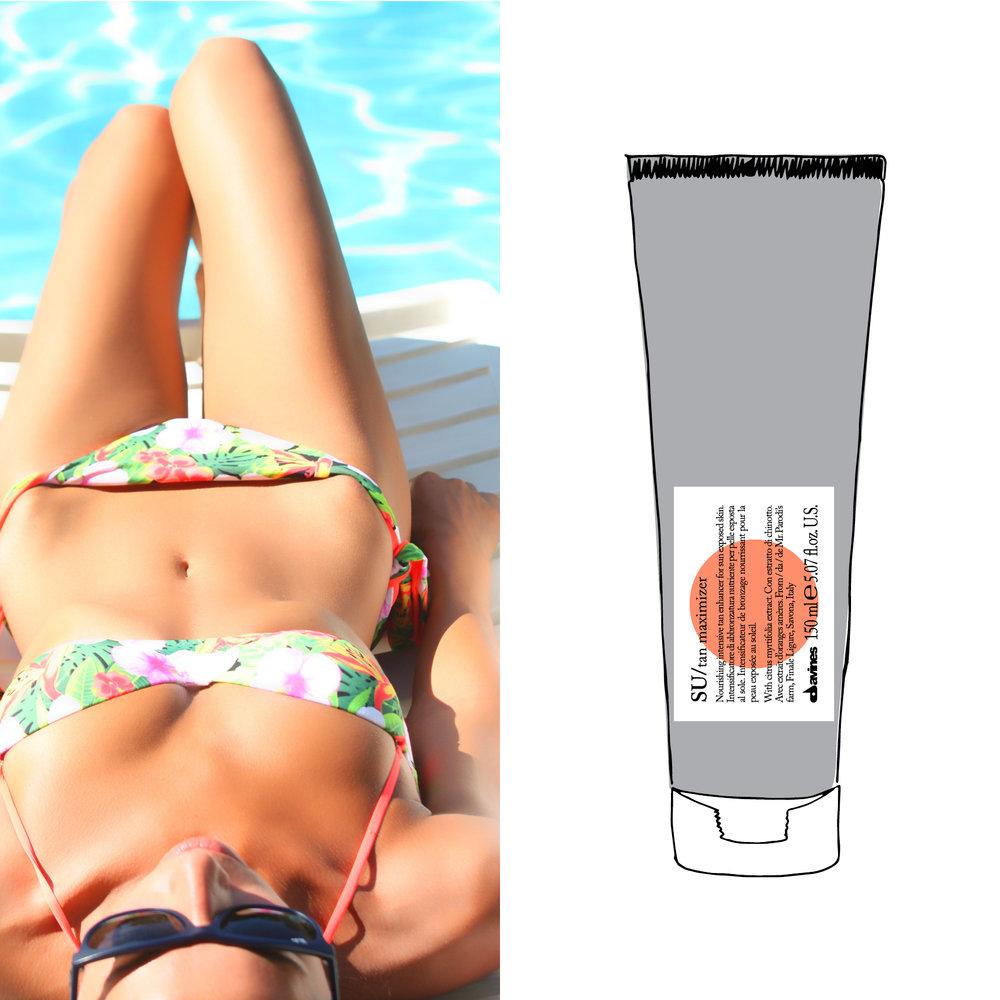 - SU/tan maximizerEn naturlig måte å gjøre solbruningsprosessen mer effektiv og for å forberede huden på soleksponering.Påføres i ansiktet og på kroppen før og under soling. Den inneholder ikke UVA eller UVB beskyttelse, så det er viktig å påføre passende solkrem etter Tan Maximizer for å sikre beskyttelse mot solen.
