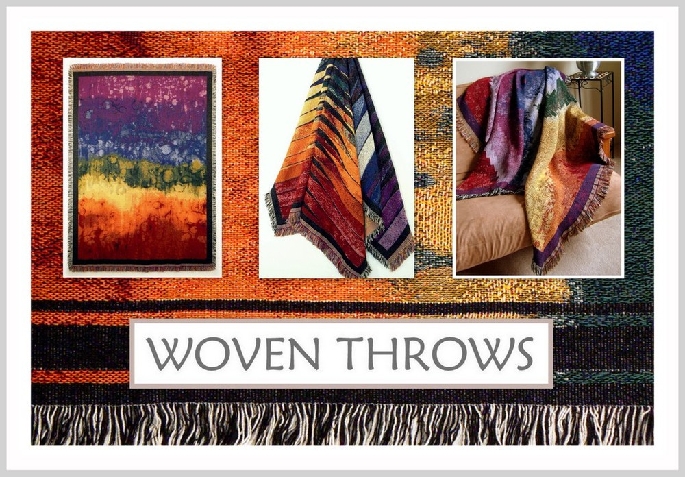 DR. RENEE'S EYE CATCHING DESIGNS HAVE BEEN TRANSFORMED INTO LUXURIOUS WOVEN THROWS.
