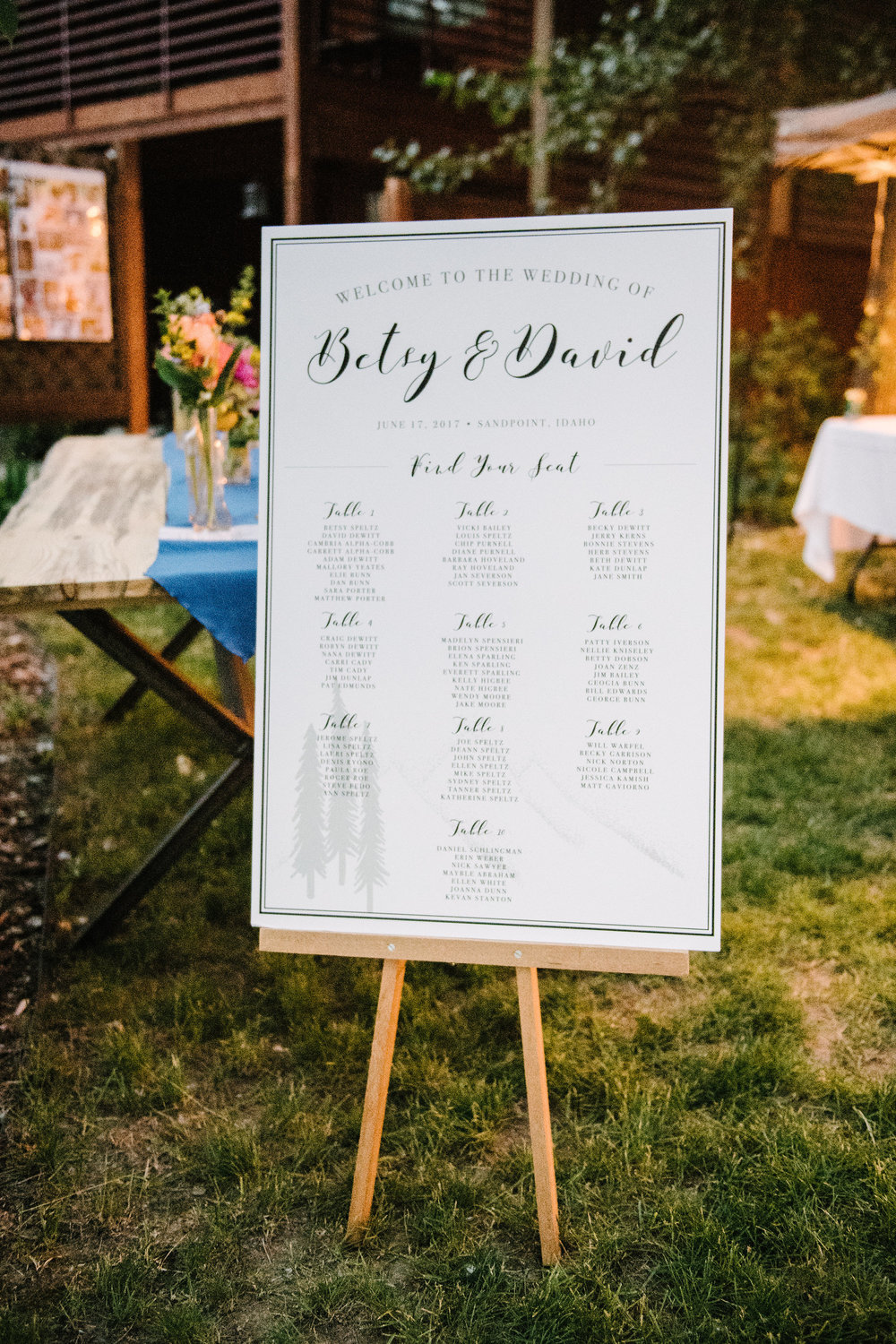 Custom made seating chart