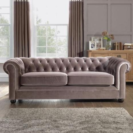 Mink Velvet Chesterfield Sofa