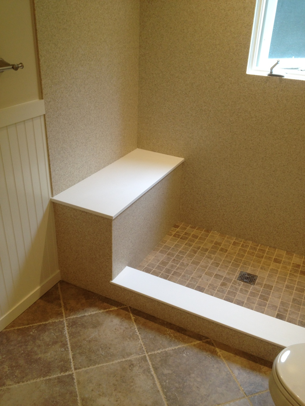 Custom Corian Shower Wall Surround, Shower Seat, And Thresholds   After