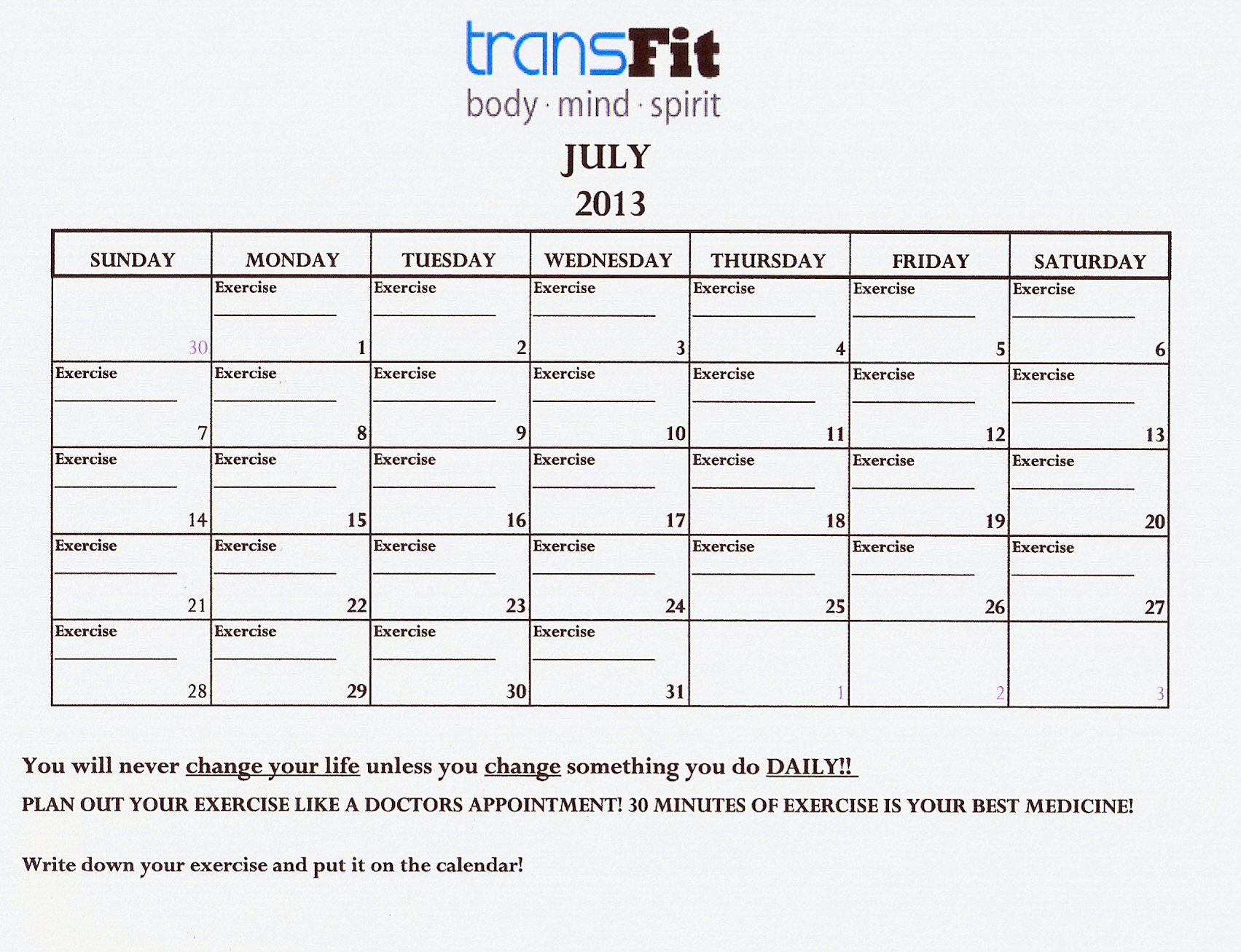July 2013 Exercise Calendar