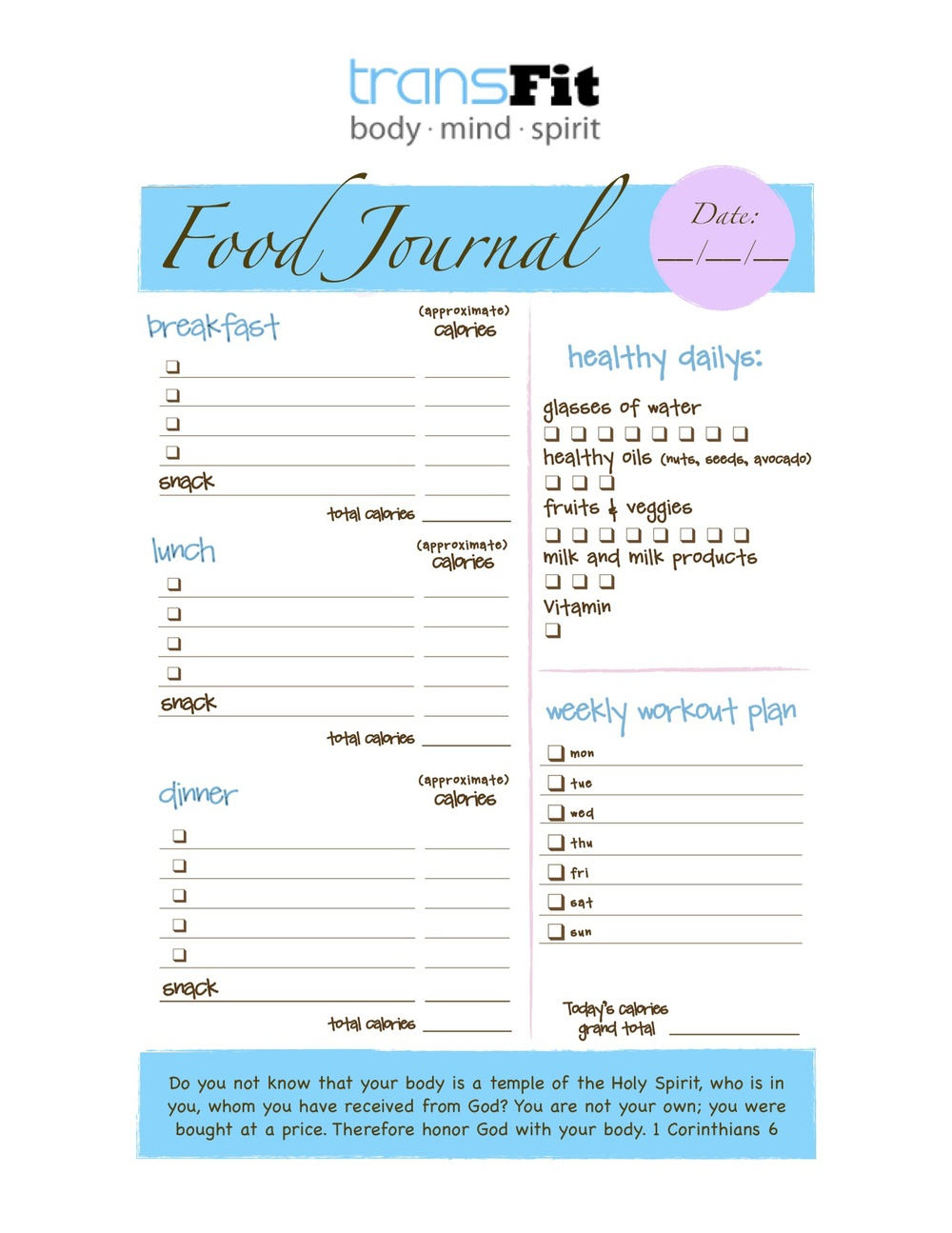 Transfit Journal Template  Food Journal Template Free