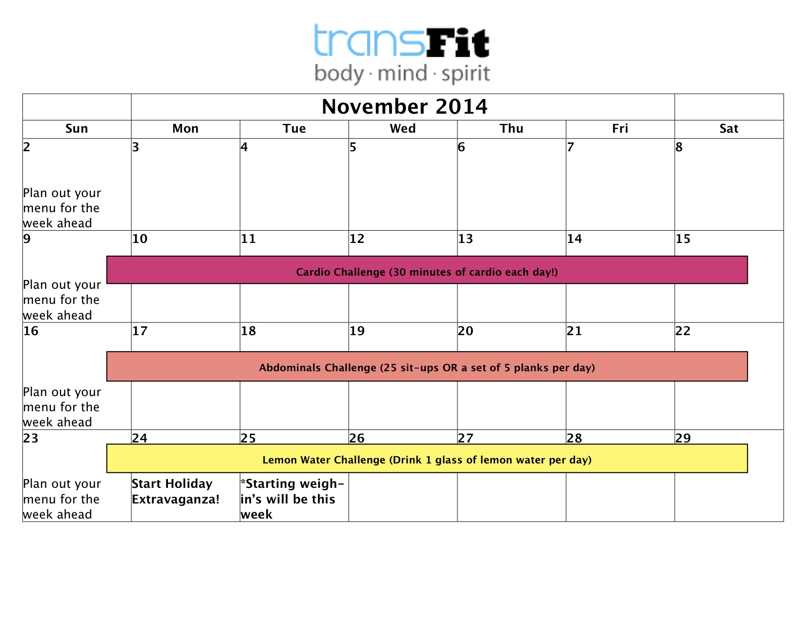 November2014 CALENDAR
