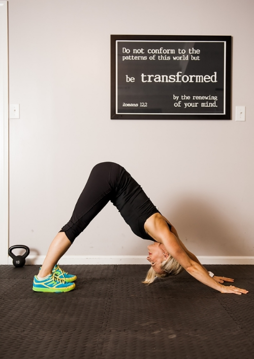 Downward Dog- Move hands together in triangular shape and add a push-up!