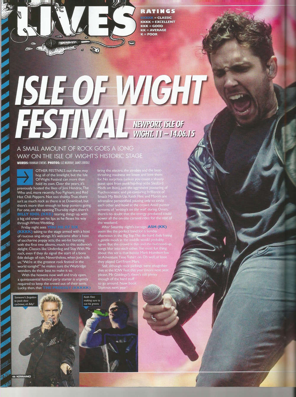 Isle of Wight Kerrang Magazine, Billy Idol