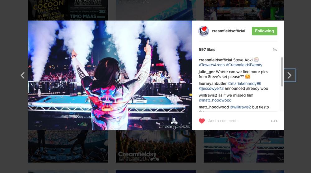 Steve Aoki, Creamfields Instagram (2016)