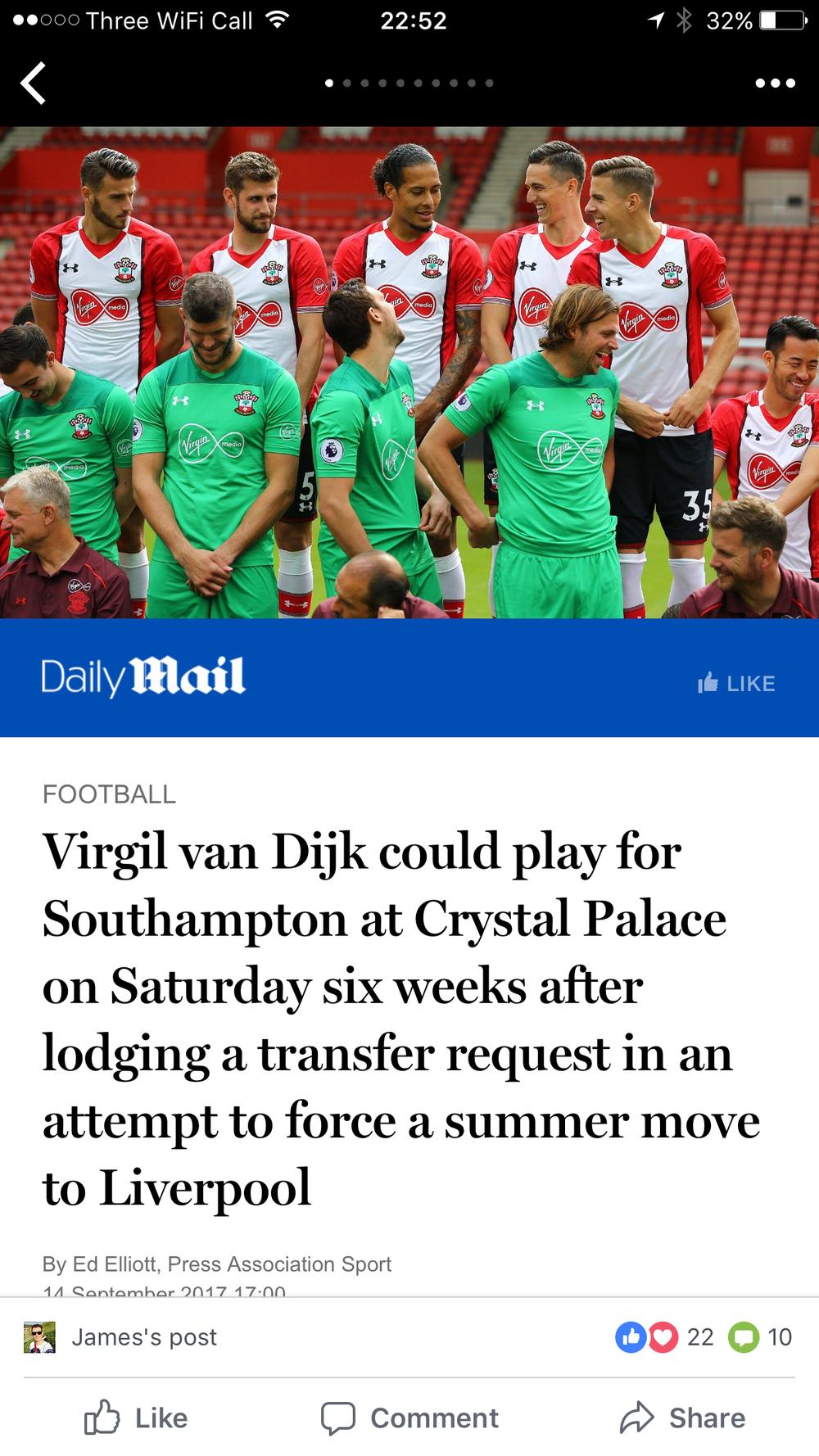 Mail Online, Southampton FC