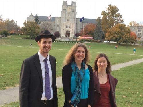 Dr. Kessler, Dr. Pozorski, and Dr. Scheurer on the VT Drillfield (D D Gilbride)