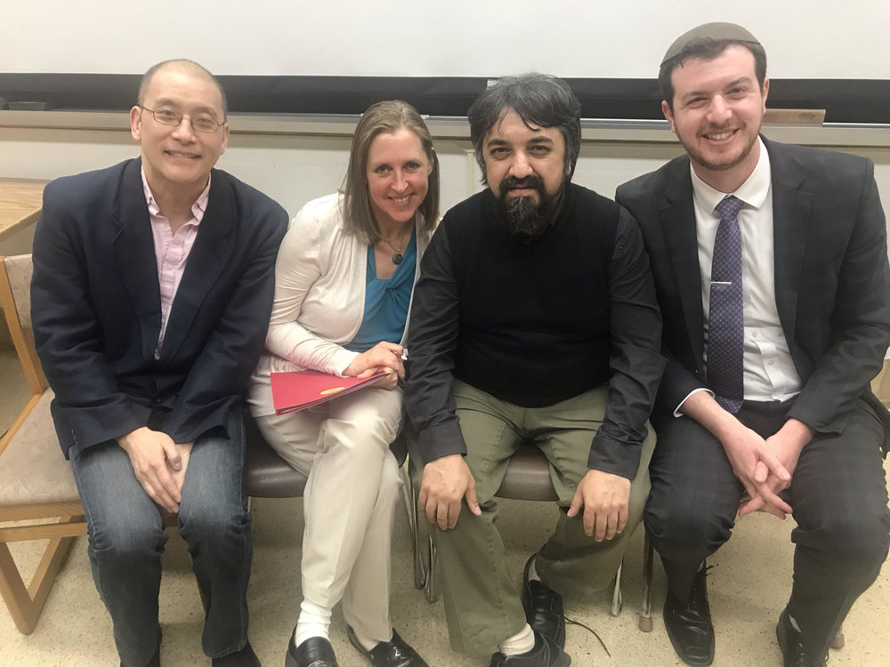 """Dr. John Cha, Reverend Siri Erickson, Dr. Fuad Naeem, and Dr. Samuel J. Kessler as panelists for """"God and Evil After The Holocaust,"""" Gustavus Adolphus College, March 2019."""