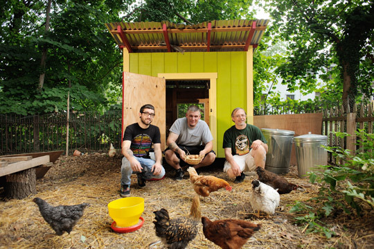 Tom Martella, Vincent Cuinn and Apollo Heidelmark take care of seven hens in East Germantown.
