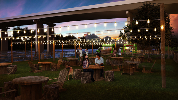 A rendering of the Schuylkill Banks Parks on Tap location