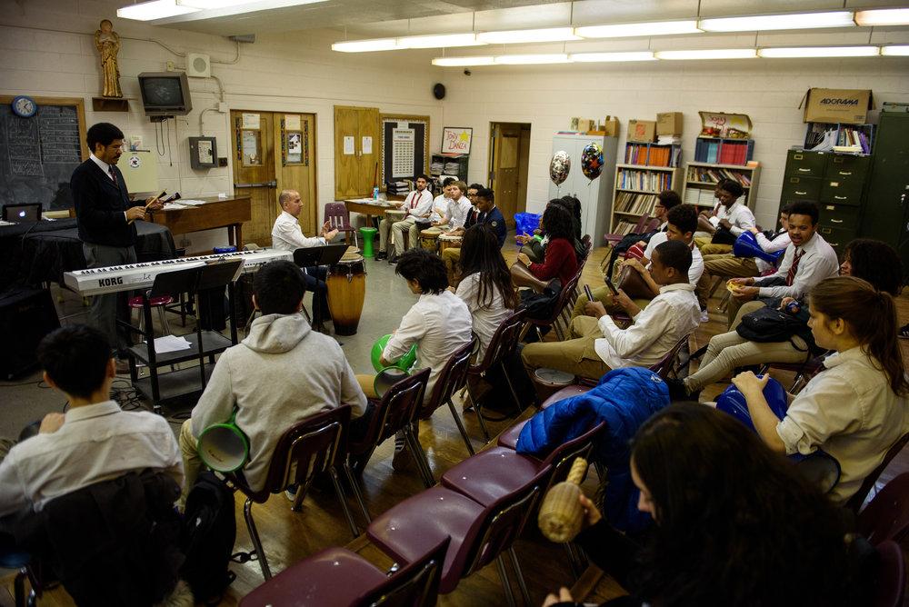 Drum class at Northeast High School