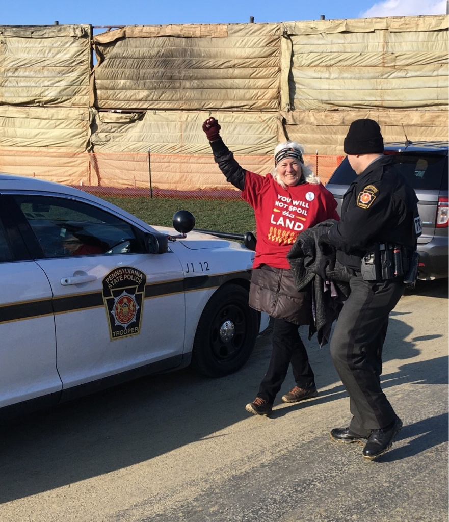 Judy Wicks gets arrested protesting the Atlantic Sunrise Pipeline in Mountville, PA on March 10