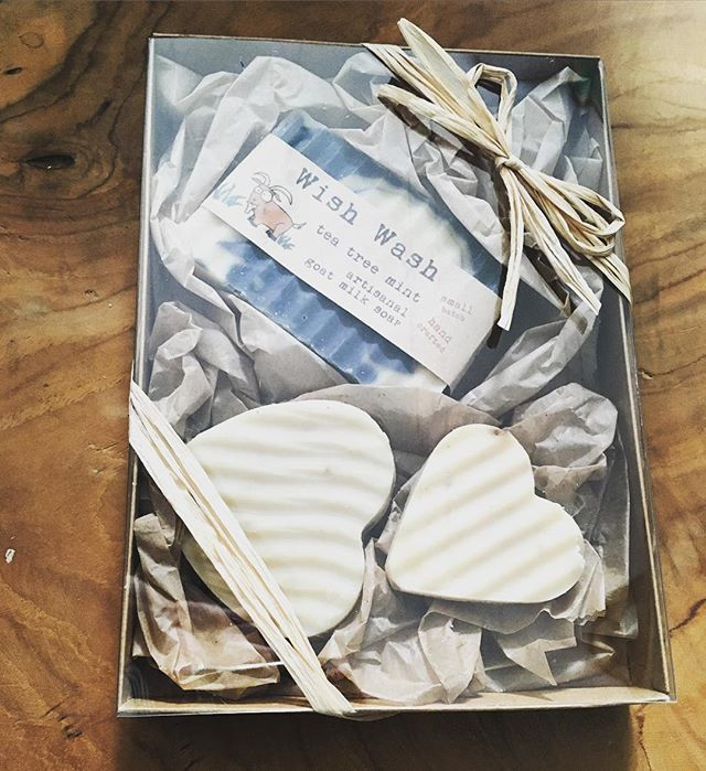 Locally made goat's milk gift set by @wishwehadacres. Come and get it at @okracharlotte and @gumbothestore. #handmade #soaps #local #farm #buylocal #stayclean #giftset #valentinesday #gift #cltshopping #charlotteshopping #charlotte #charlotteagenda #celebratedgoods #makewell #meanwell
