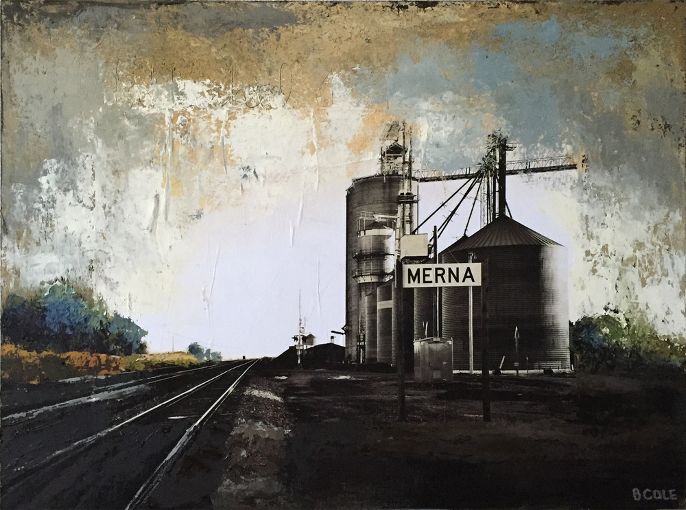 SOLD. Our Town Merna - 18 x 24 - Oil/Cold Wax/Photo