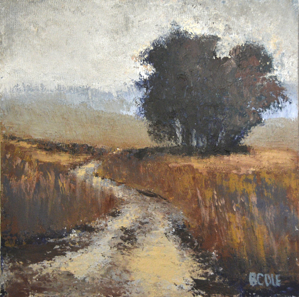 SOLD. Foggy Morning Oil + Cold Wax - 12 x 12