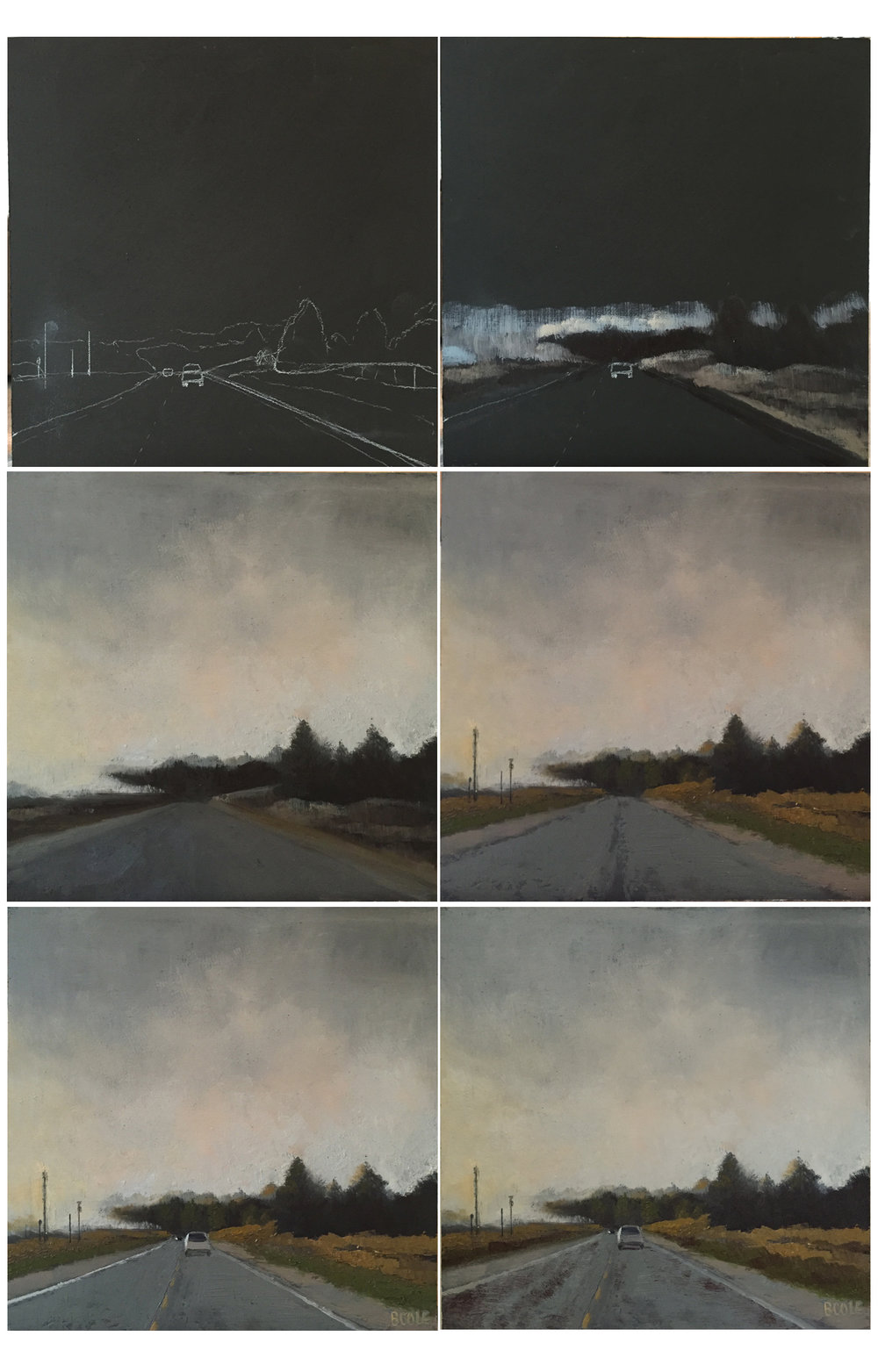 "Progress shots of ""Foggy Morning on Highway 2"" © Beth Cole, oil on wood panel, 12 x 12"