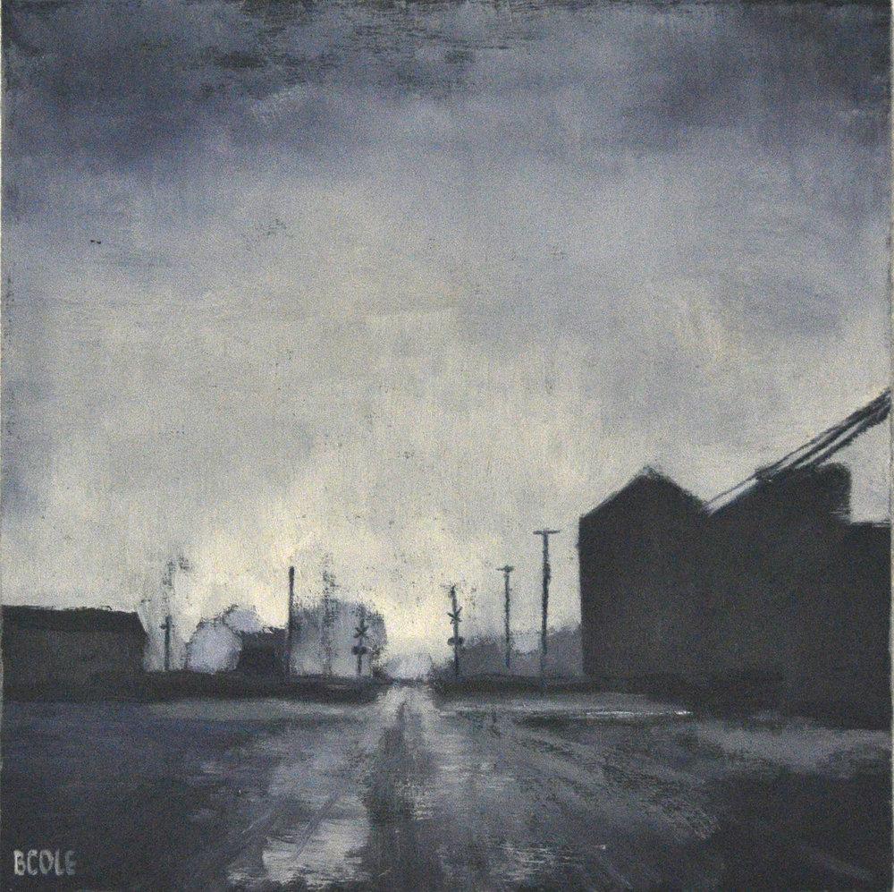 SOLD - Fog On Main, Oil on Wood Panel, 12 x 12