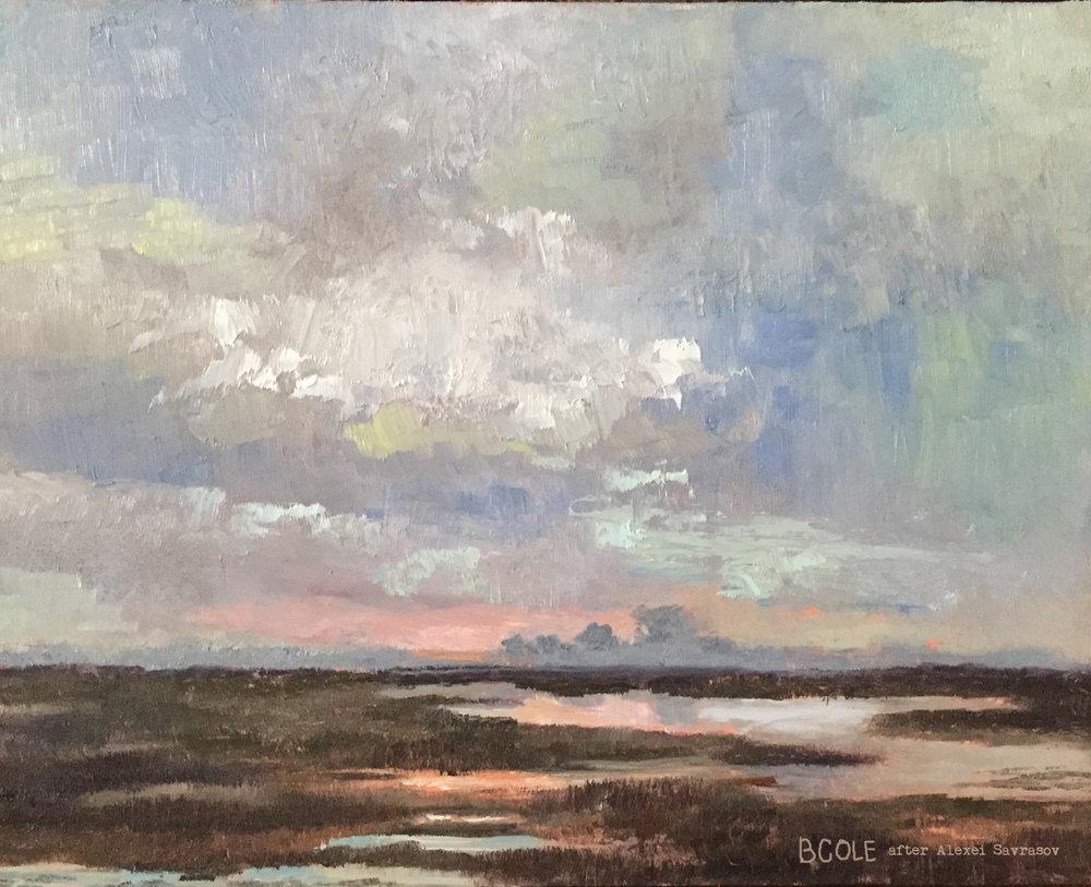Sundown Over A Marsh - Beth Cole after Alexei Savrasov - 8 x 10, Oil
