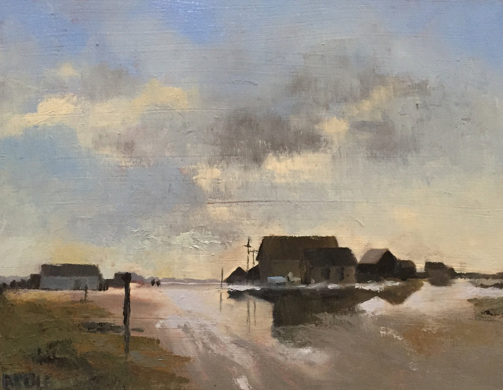 The Flooded Roof, Beth Cole after Edward Seago - 8 x 10, oil on panel